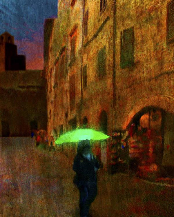 Umbrella Poster featuring the painting Green Umbrella by Patrick J Osborne