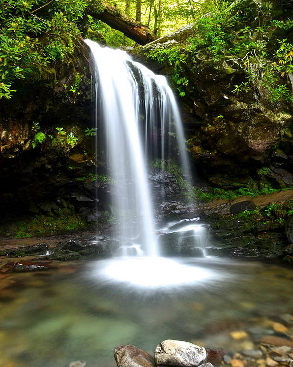 Grotto Poster featuring the photograph Grotto Falls by Frozen in Time Fine Art Photography