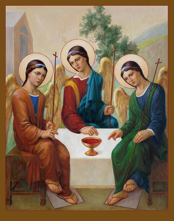 Communion Poster featuring the painting Holy Trinity - Sanctae Trinitatis by Svitozar Nenyuk