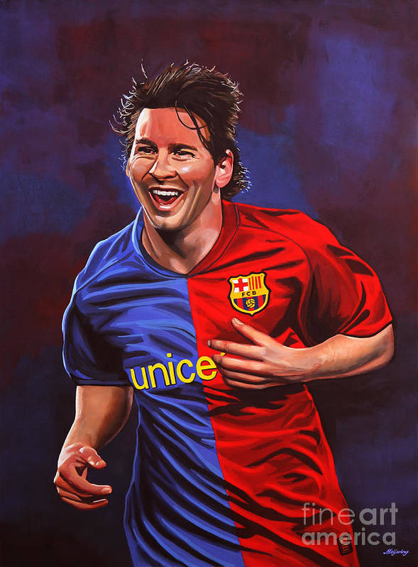 Lionel Messi Poster featuring the painting Lionel Messi by Paul Meijering