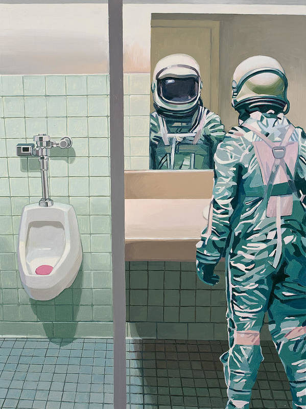 Astronaut Poster featuring the painting Men's Room by Scott Listfield
