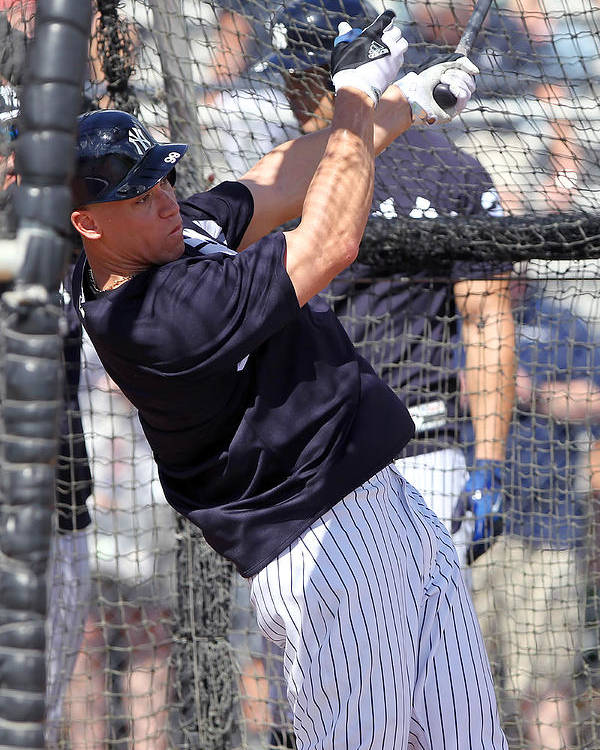 American League Baseball Poster featuring the photograph MLB: FEB 20 Spring Training - Yankees Workout by Icon Sportswire