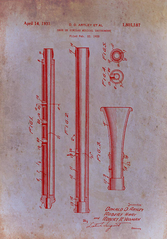 Patent Poster featuring the drawing Oboe Patent 1931 by Mountain Dreams