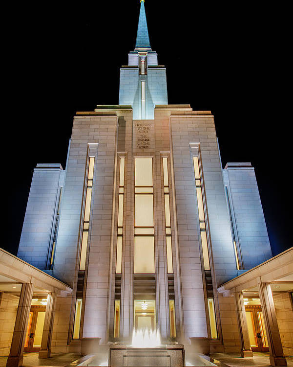 Oquirrh Mountain Temple Poster featuring the photograph Oquirrh Mountain Temple 1 by Chad Dutson