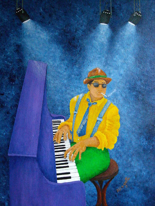 Pamela Allegretto Poster featuring the painting Piano Man by Pamela Allegretto