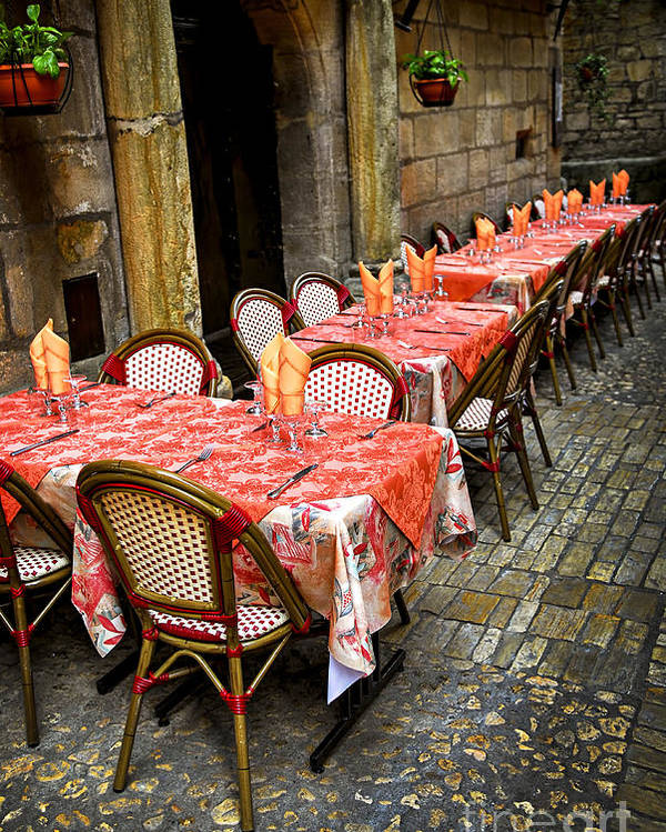 Restaurant Poster featuring the photograph Restaurant Patio In France by Elena Elisseeva