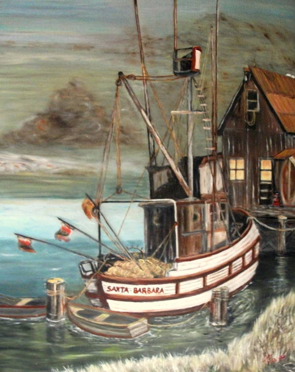 Boat Poster featuring the painting Santa Barbara by Kenneth LePoidevin