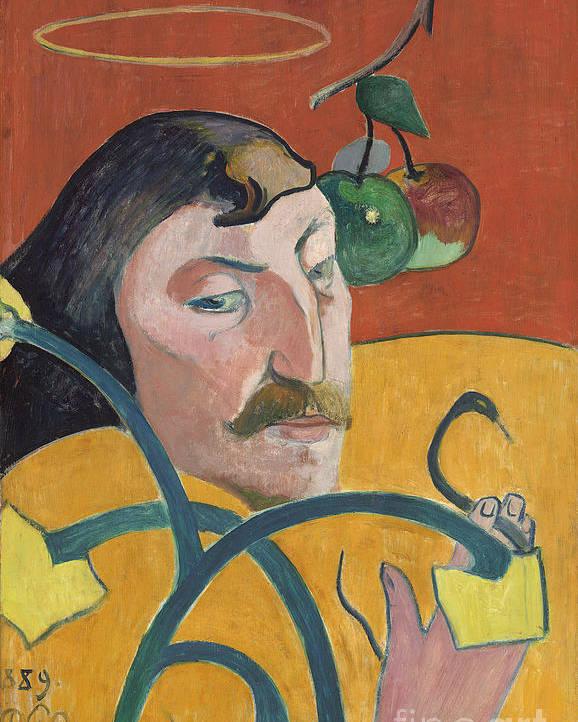 Self; Portrait; Artist; Halo; Post; Impressionist; Expressionism; Expressionist Poster featuring the painting Self Portrait by Paul Gauguin
