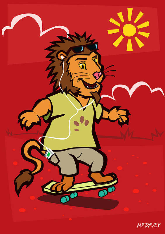 Lion Poster featuring the digital art skateboarding Lion by Martin Davey