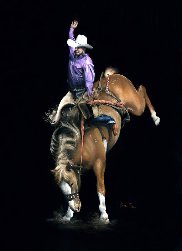 Rodeo Poster featuring the pastel The Bronc by Karen Elkan