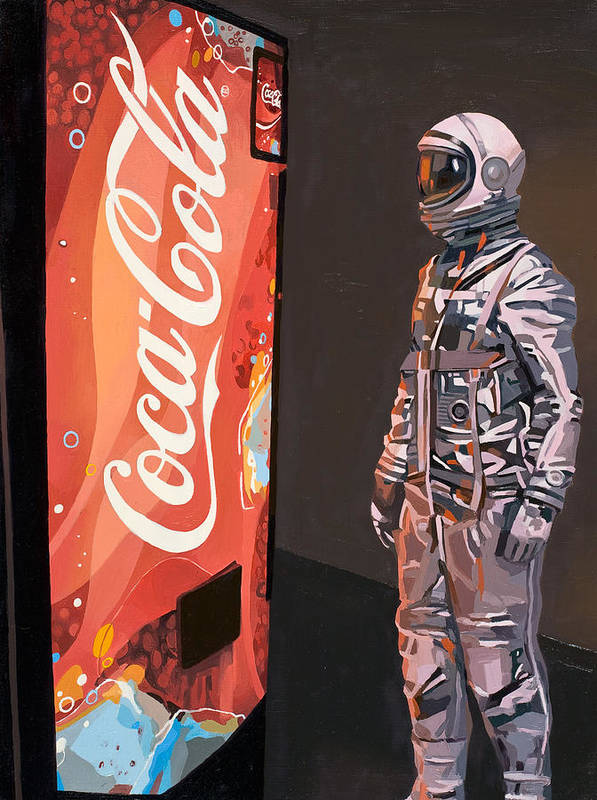 Astronaut Poster featuring the painting The Coke Machine by Scott Listfield