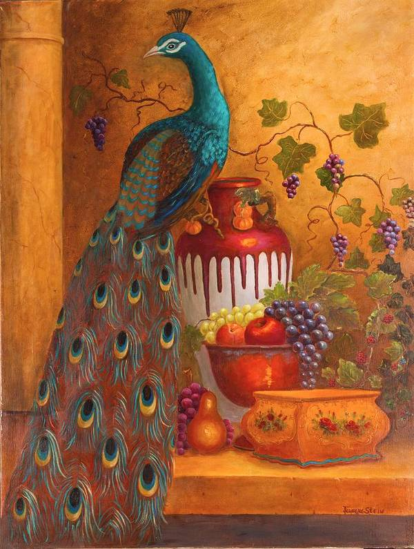 Still Life Poster featuring the painting The Peacock by Jeanene Stein