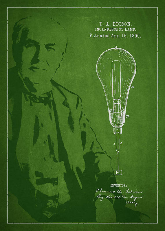 Thomas Edison Poster featuring the digital art Thomas Edison Incandescent Lamp Patent Drawing From 1890 by Aged Pixel