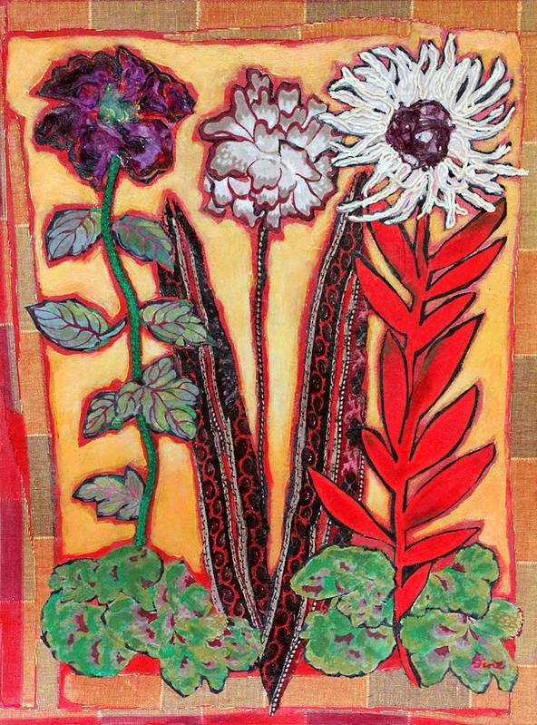 Free Standing Flowers Poster featuring the mixed media Three Flowers by Diane Fine
