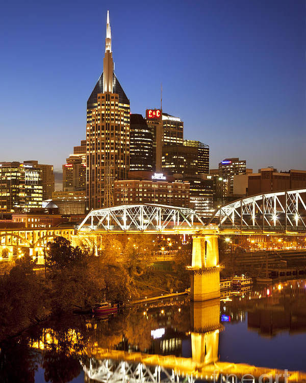 Nashville Poster featuring the photograph Twilight Over Nashville Tennessee by Brian Jannsen