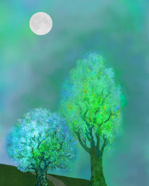 Twilight Poster featuring the digital art unbordered DREAM TREES AT TWILIGHT by Mathilde Vhargon