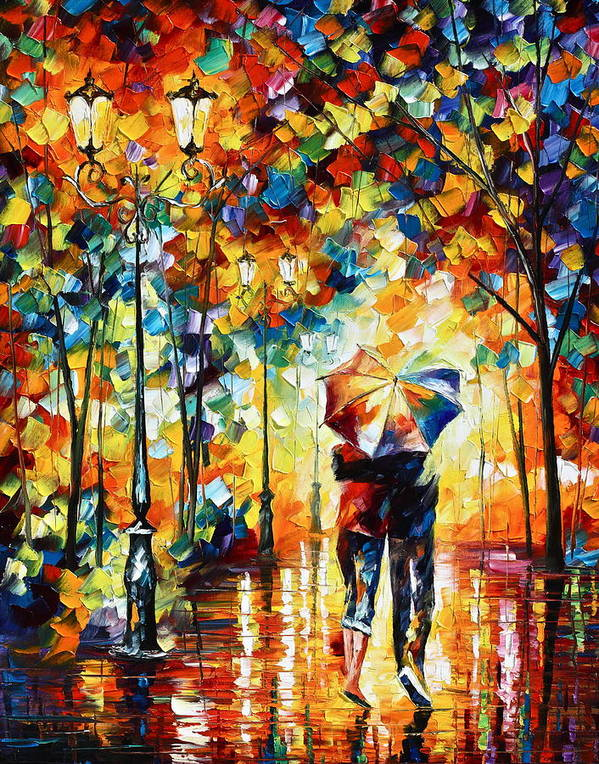 Couple Poster featuring the painting Under one umbrella by Leonid Afremov