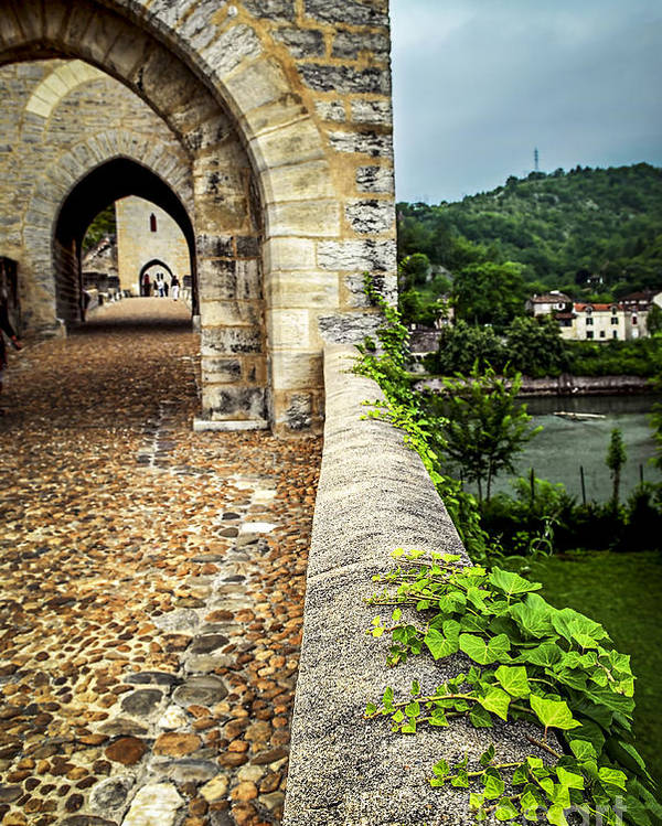 Cahors Poster featuring the photograph Valentre Bridge In Cahors France by Elena Elisseeva