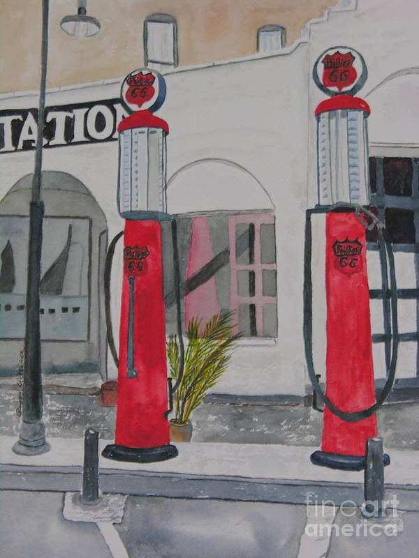 Gas Pumps Poster featuring the painting 20 Cents Per Gallon by Peggy Dickerson