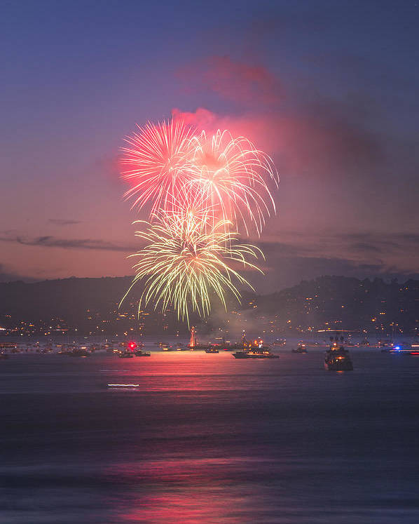 July 4th Poster featuring the photograph 2014 4th Of July Firework Celebration. by Jason Choy
