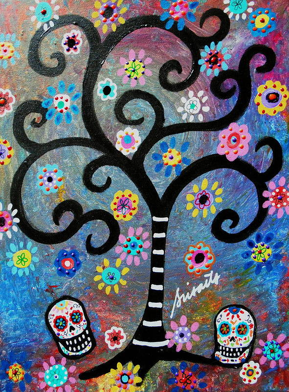 Day Of The Dead Poster featuring the painting Dia De Los Muertos by Pristine Cartera Turkus