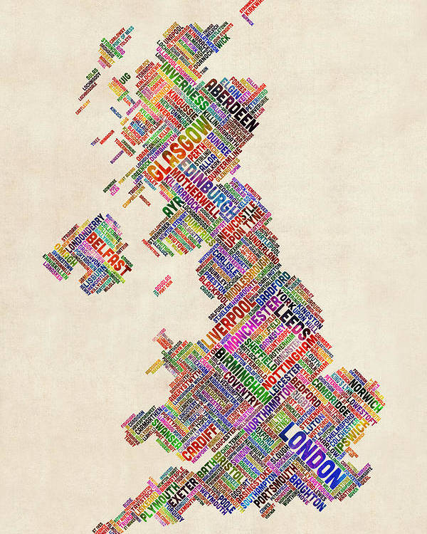 United Kingdom Poster featuring the digital art Great Britain Uk City Text Map by Michael Tompsett