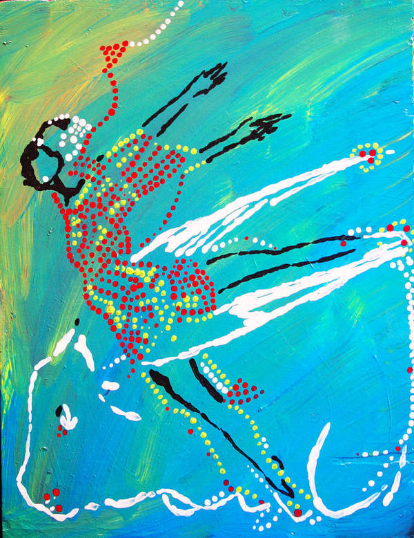 Jesus Poster featuring the painting Dinka Dance - South Sudan by Gloria Ssali