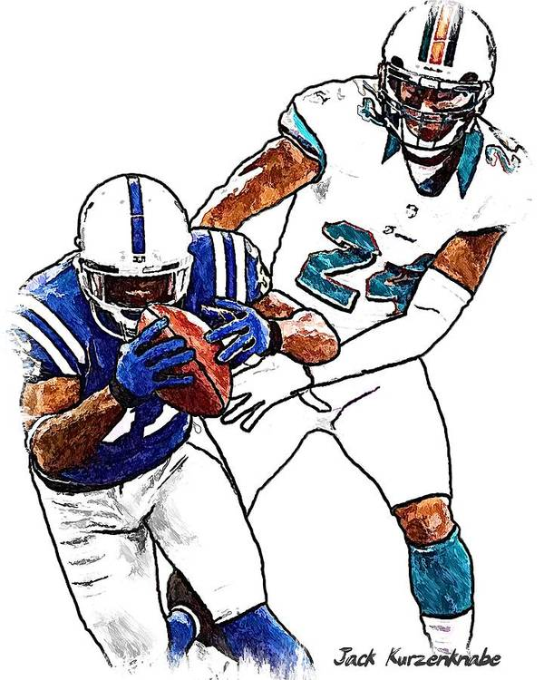 Sports Nfl Art Sketch Drawings nfl Art nfl Artwork nfl Drawings nfl Sketches miami Dolphins indianapolis Colts Poster featuring the digital art 289 by Jack K