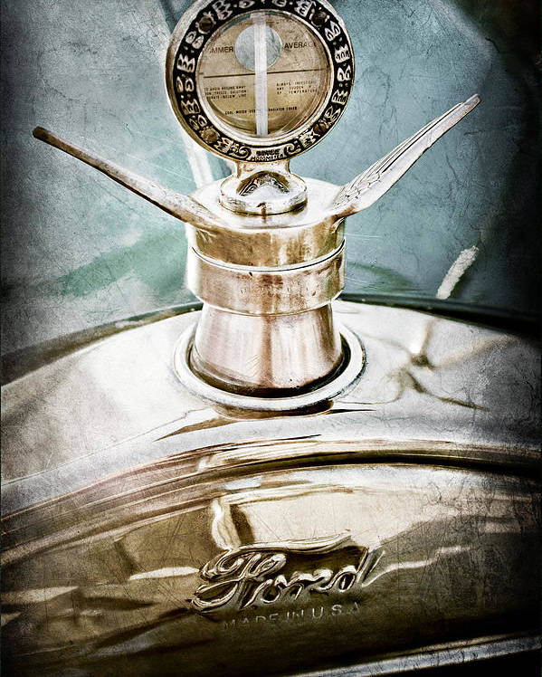 1923 Ford Model T Hood Ornament Poster featuring the photograph 1923 Ford Model T Hood Ornament by Jill Reger