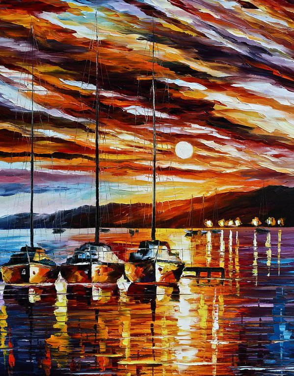 Sea Poster featuring the painting 3 Borthers by Leonid Afremov
