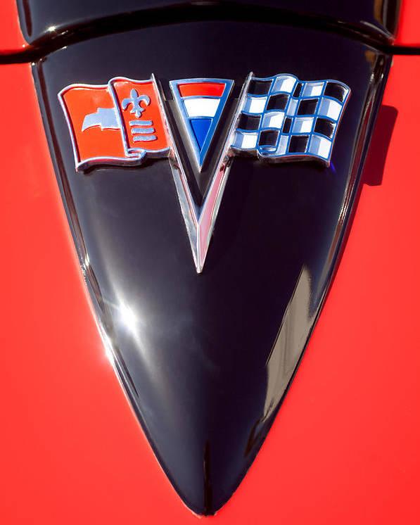 Chevrolet Corvette Hood Emblem Poster featuring the photograph Chevrolet Corvette Hood Emblem by Jill Reger