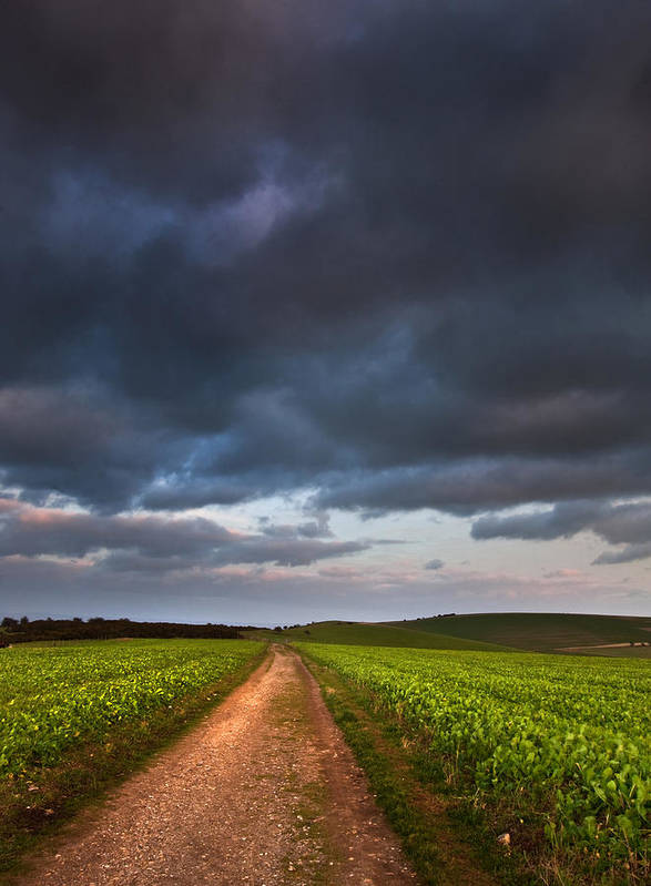 Landscape Poster featuring the photograph Countryside Landscape Path Leading Through Fields Towards Dramat by Matthew Gibson