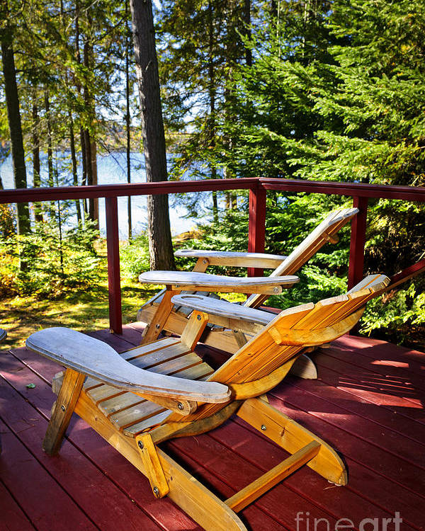 Deck Poster featuring the photograph Forest Cottage Deck And Chairs by Elena Elisseeva