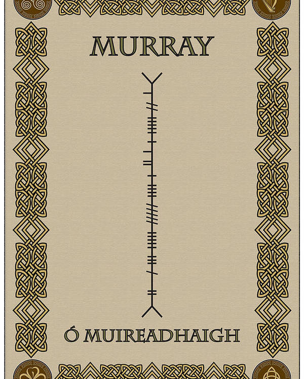 Murray Poster featuring the digital art Murray Written In Ogham by Ireland Calling