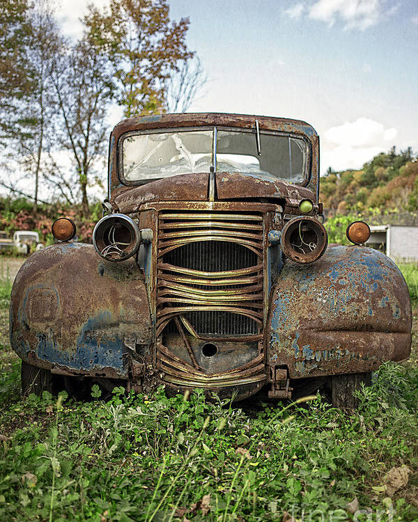 Chevy Poster featuring the photograph Old Junker Car by Edward Fielding