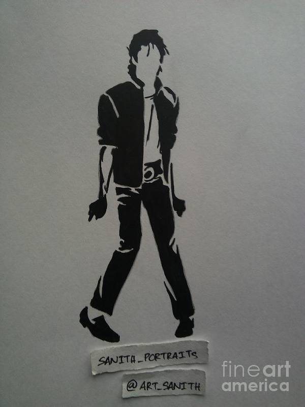 Poster featuring the drawing Stencil - Mj by Sanith Raj S