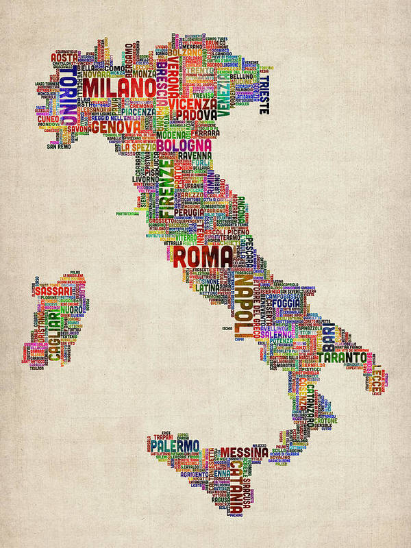 Text map of italy map poster by michael tompsett italy map poster featuring the digital art text map of italy map by michael tompsett gumiabroncs Image collections