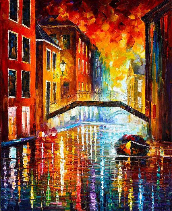Afremov Poster featuring the painting The Canals Of Venice by Leonid Afremov