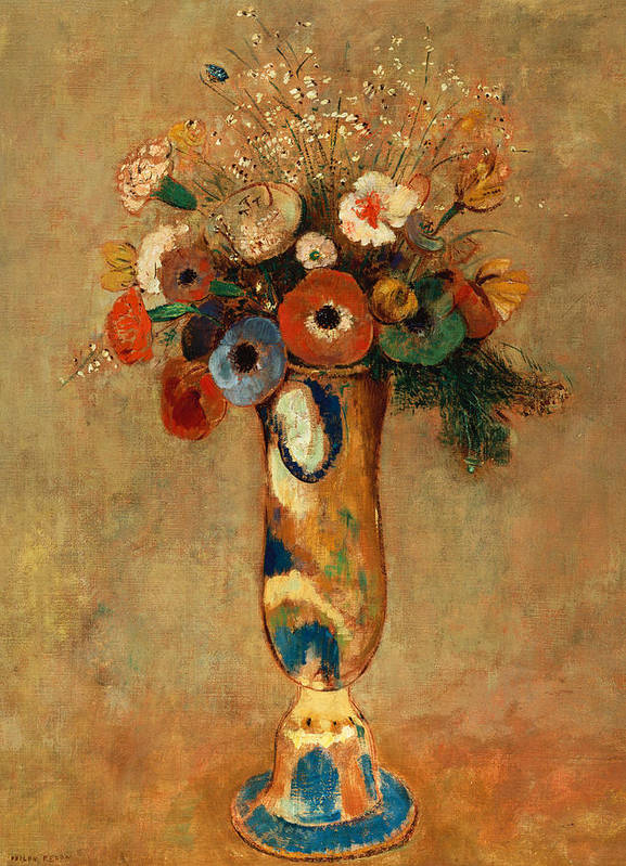 Still Life; Flower Poster featuring the painting Vase Of Flowers by Odilon Redon