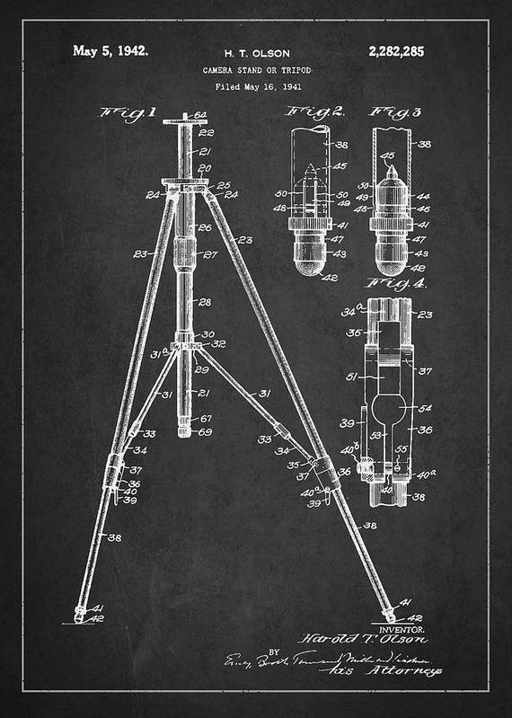 Tripod Poster featuring the drawing Vintage Tripod Patent Drawing From 1941 by Aged Pixel