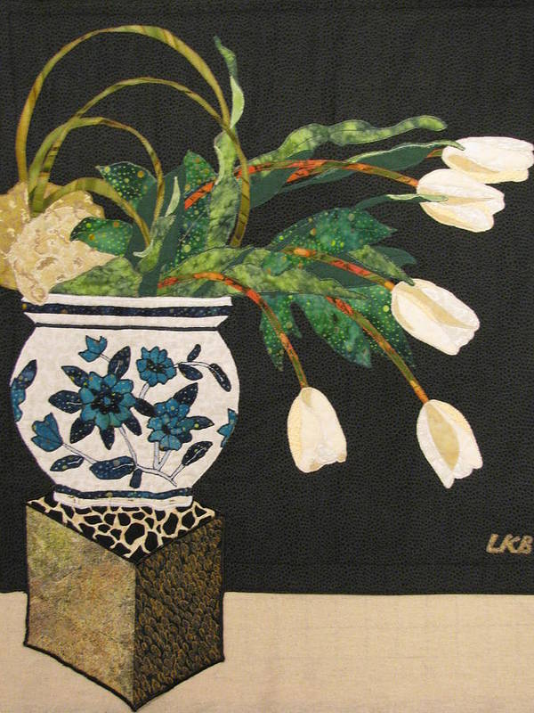 Floral Tapestries Textiles Poster featuring the tapestry - textile White Tulips by Lynda K Boardman
