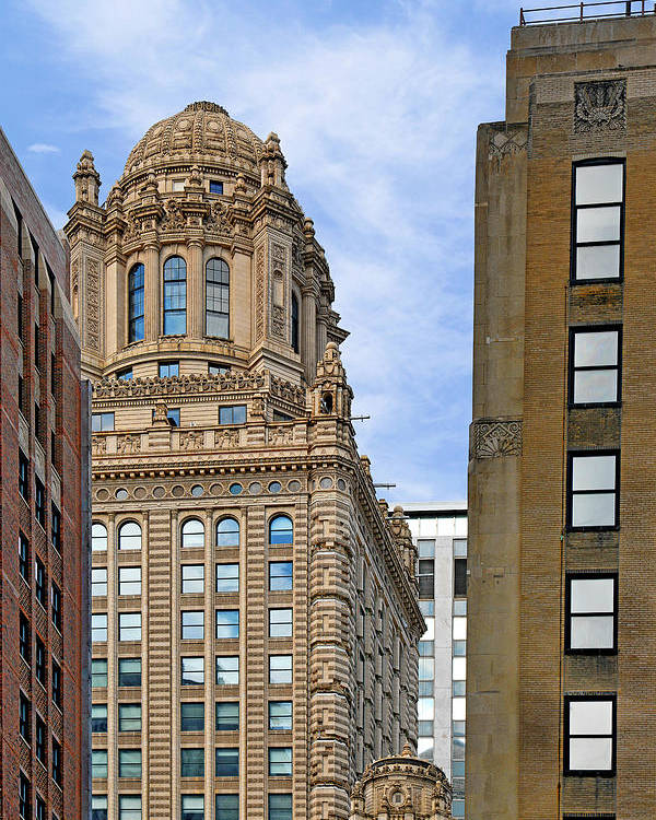 Jewelers Poster featuring the photograph 35 East Wacker - Jewelers' Building Chicago by Christine Till