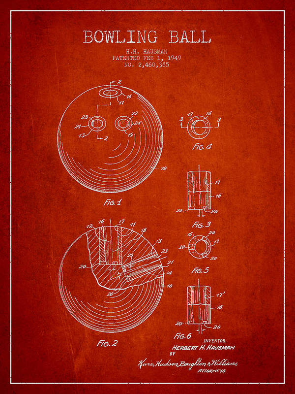 Bowling Ball Patent Drawing from 1949 by Aged Pixel