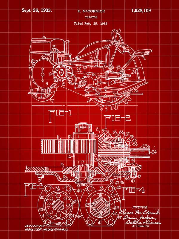 John Deere Poster featuring the digital art John Deere Tractor Patent 1932 - Red by Stephen Younts