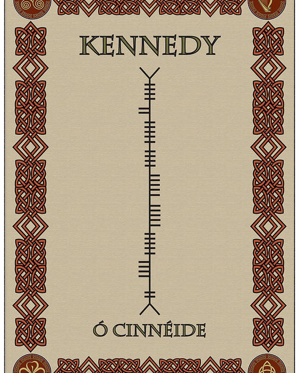 Kennedy Poster featuring the digital art Kennedy Written In Ogham by Ireland Calling