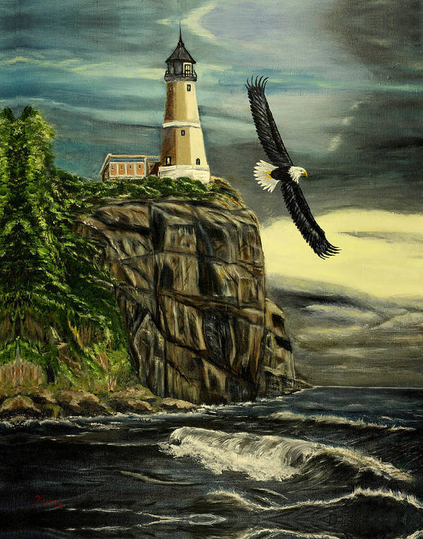Landscape Poster featuring the painting Lighthouse Eagle by Kenneth LePoidevin
