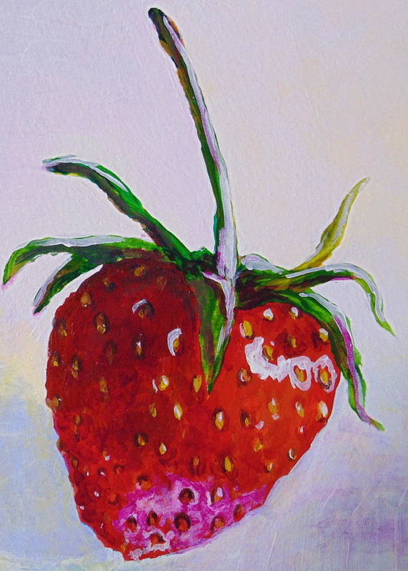 Strawberry Poster featuring the painting Single Strawberry by Pat Gerace