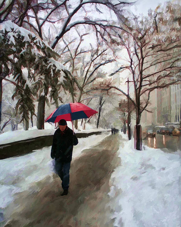 Central Park Poster featuring the mixed media Snowfall In Central Park by Deborah Boyd