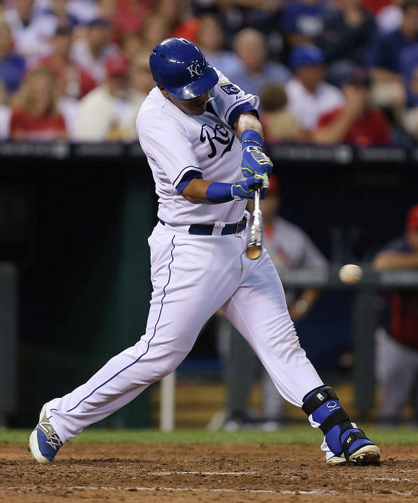 Salvador Perez Diaz Poster featuring the photograph St. Louis Cardinals V Kansas City Royals by Ed Zurga