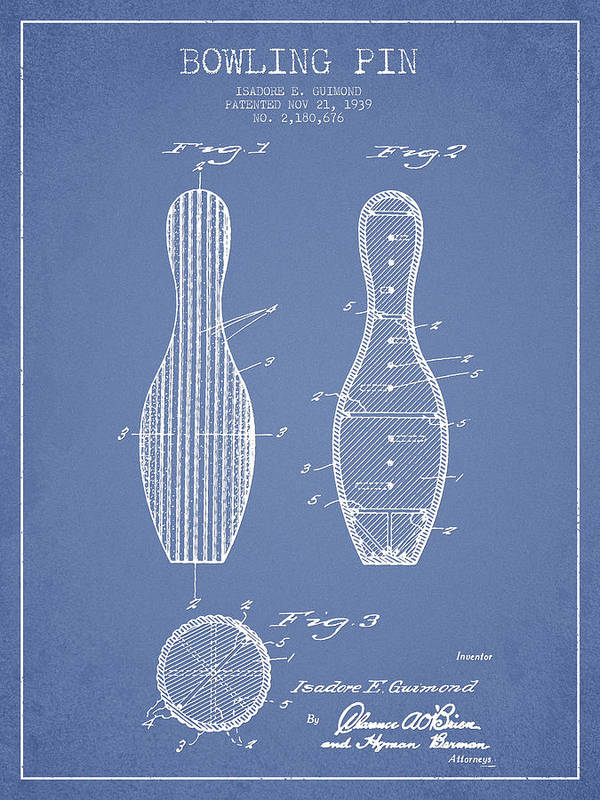 Bowling Poster featuring the digital art Vintage Bowling Pin Patent Drawing  From 1939 by Aged Pixel